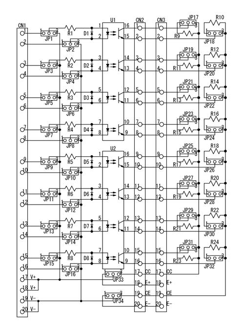 絶縁型汎用インタフェースボード回路図